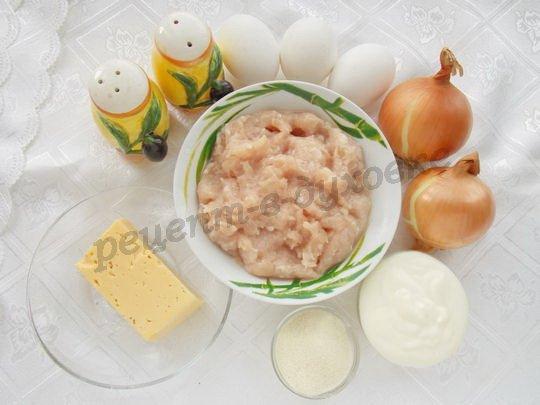 ингредиенты для рулета из омлета с куриным фаршем