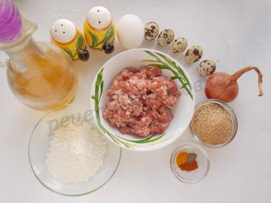 ингредиенты для котлет из фарша с перепелиными яйцами