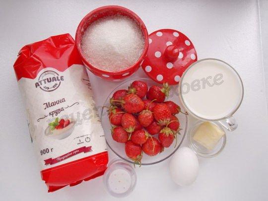 ингредиенты для манного суфле со свежей клубникой