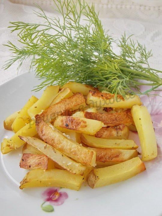 запечённый картофель фри без масла
