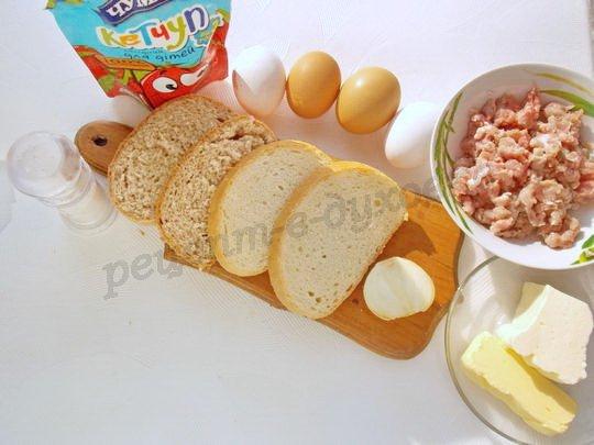 ингредиенты для бутербродов с яйцом и фаршем