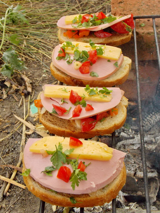 посыпаем горячие бутерброды зеленью