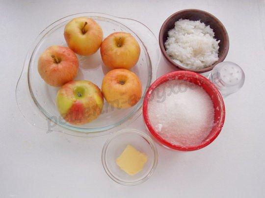 ингредиенты для яблочно-рисового десерта