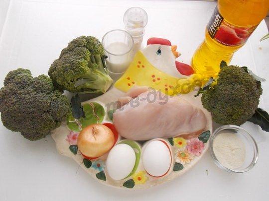 ингредиенты для запеканки с куриным филе и брокколи
