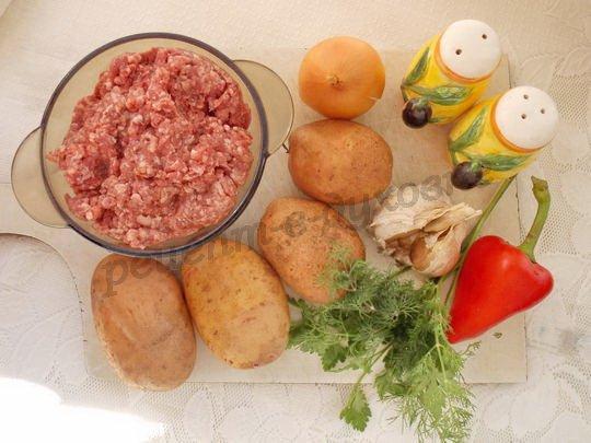 ингредиенты для картофеля,запечённого на шпажках с фаршем