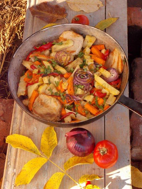 рецепт картошки, запечённой  с тыквой и перцем