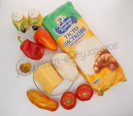 ингредиенты для слоек со сладким перцем и курицей