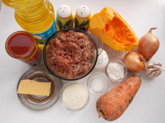 ингредиенты для тефтелей из фарша и тыквы