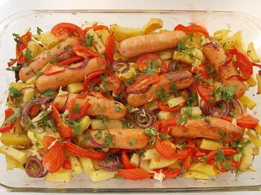 сосиски с картошкой в духовке