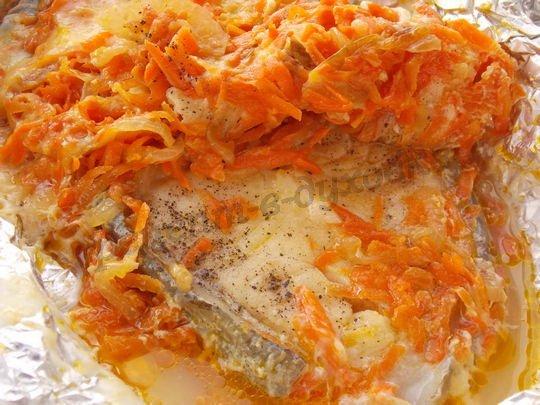 рецепт зубатки в фольге с овощами