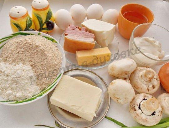 ингредиенты для гречневых галет с яично-грибной начинкой
