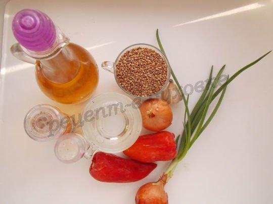 ингредиенты для гречневой каши с перцем