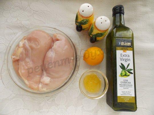 ингредиенты для запечённых куриных грудок с лимоном и мёдом