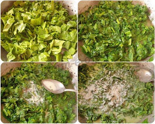 тушим листья шпината с маслом и сливками