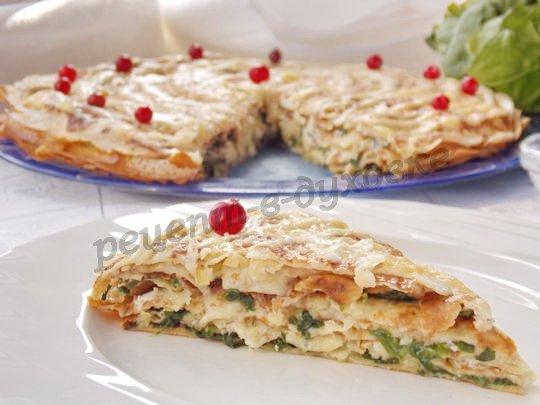 рецепт шпинатно-блинного торта с брынзой и сыром