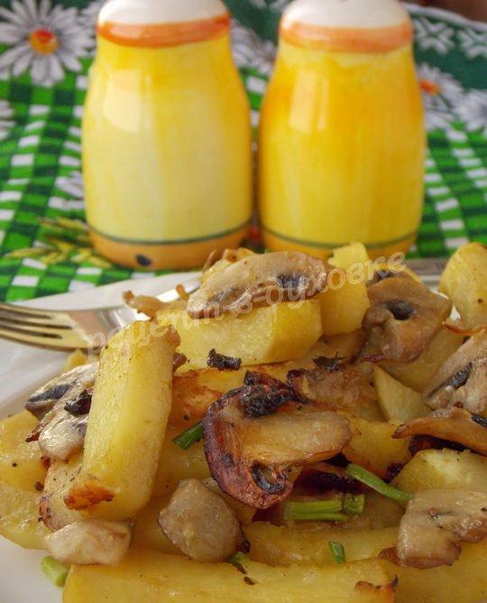 рецепт картофеля с шампиньонами в духовке