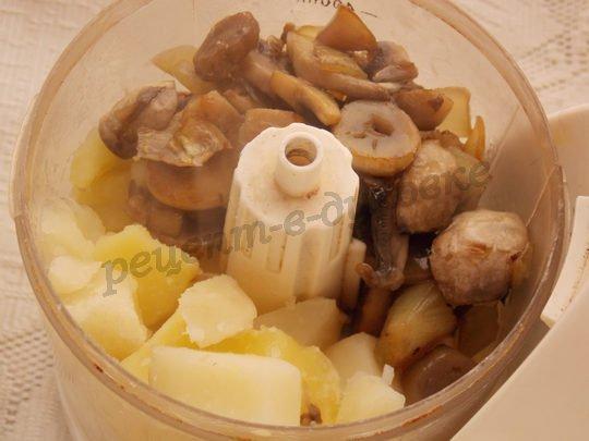 делаем пюре из картошки и шампиньонов
