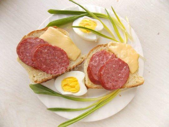 горячий бутерброд с салями и сыром