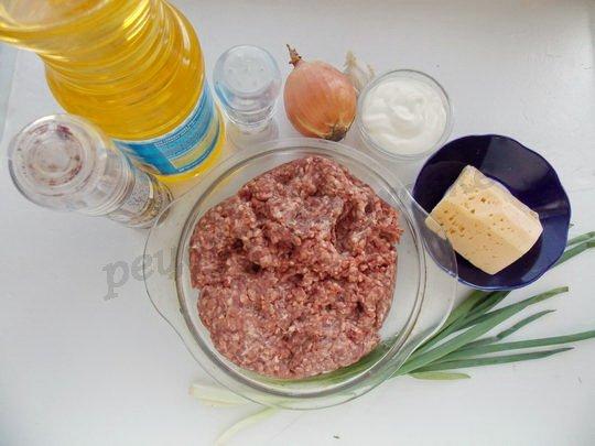 ингредиенты для мясных ватрушек с сырной начинкой