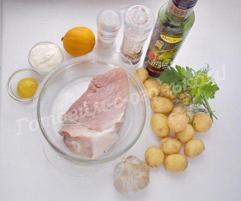 ингредиенты для шашлыка с картошкой и свининой