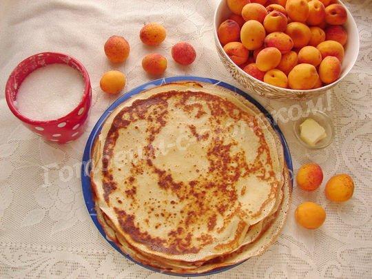 ингредиенты для блинчиков с абрикосами