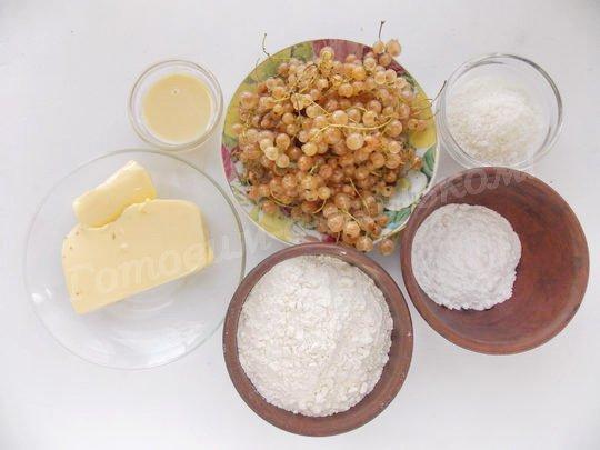 ингредиенты для крамбла с белой смородиной и кокосовой стружкой
