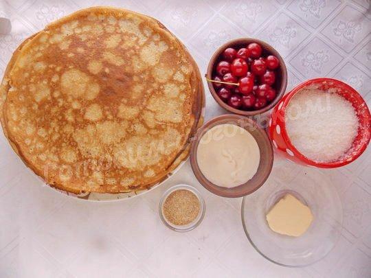 ингредиенты для торта из блинчиков с вишней