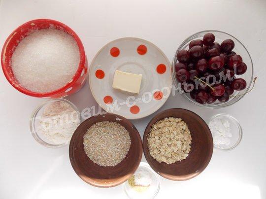 ингредиенты для вишнёвого крамбла